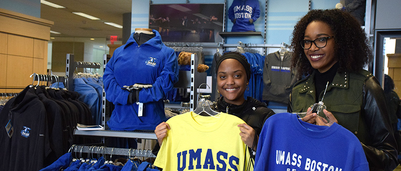 Campus store featuring UMass Boston gear