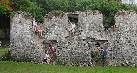 Students on Caribbean ruins