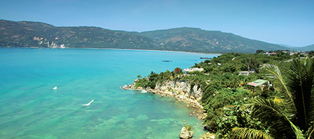 Overlook of ocean in Jacmel, Haiti