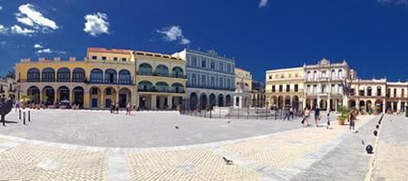 image of town center in Cuba