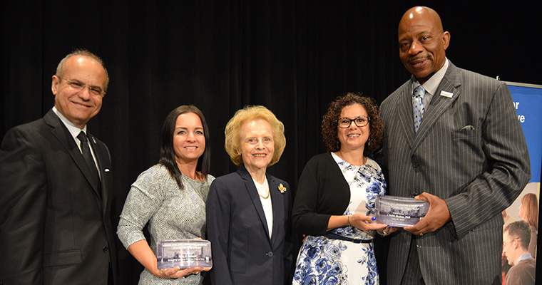 Leading the Way award photo with Jorge Haddock, Tina Potenti, Sherry Penney, Lisa DeAngelis and Chancellor Motley