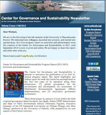 Quarterly Newsletters from the Center for Governance and Sustainability