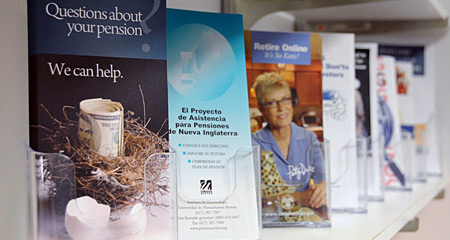 Pension and Retirement Brochures on a Shelf. Questions About Your Pension? We Can Help.