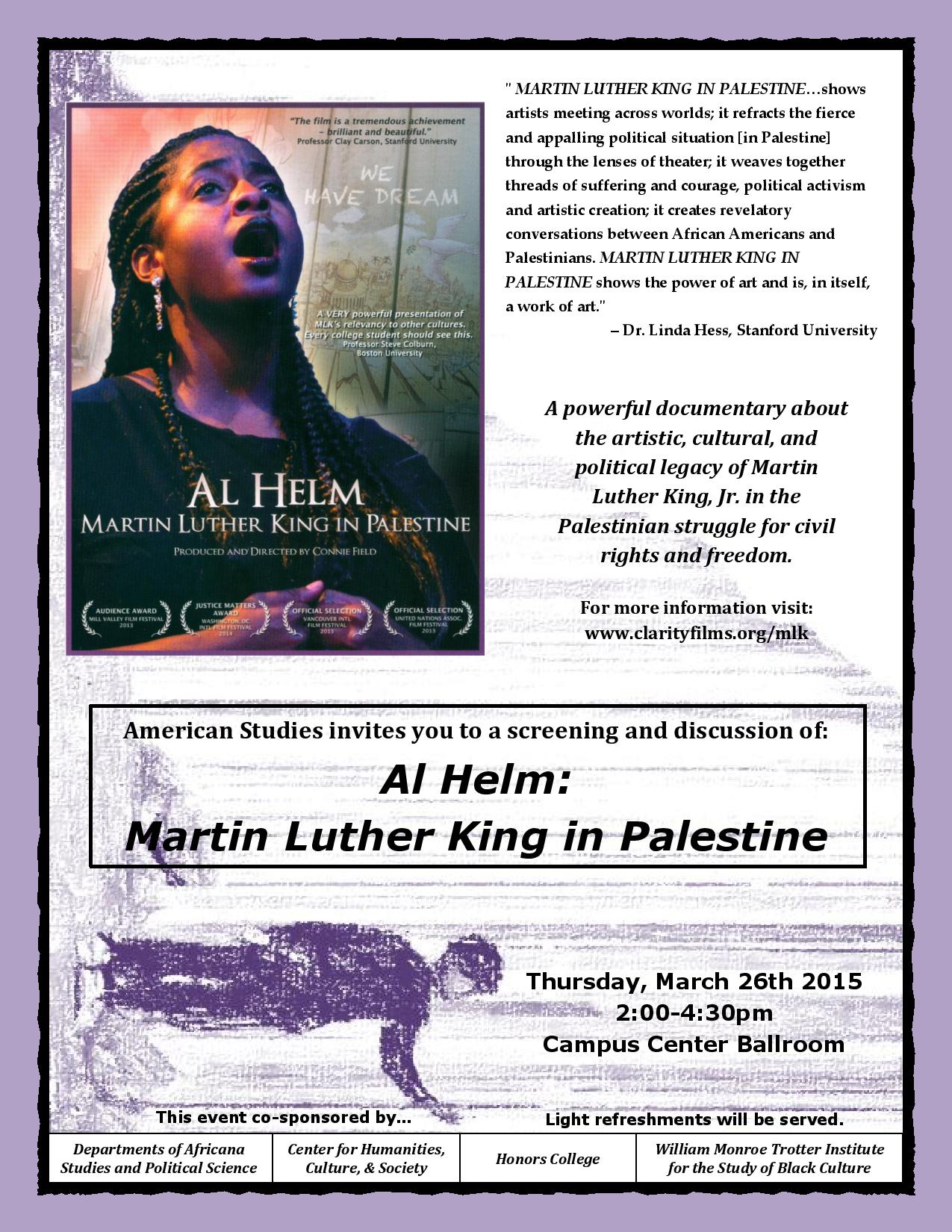poster advertising a 2015 movie about Palestine - tiny not readable text.