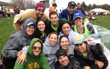 Members of Team Camp Shriver run the 2015 Boston Marathon.