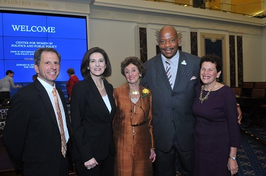 David Cash, Vicky Kennedy, Betty Taymor, Chancellor Motley, and Ann Bookman all smiling for the camera.