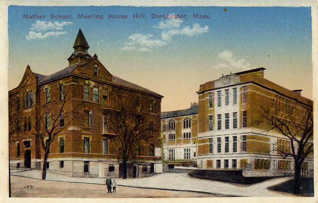 Historic postcard of Mather School, Meeting House Hill, Dorchester, Mass.