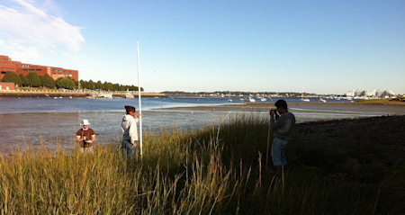 Students working in Savin Hill Cove just outside the UMass Boston campus (2011)