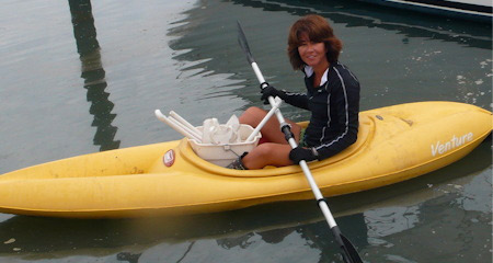 Dr. Anamarija Frankic kayaking to the Wellfleet, MA site