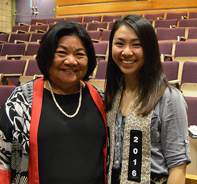 2016 Anthony Chan Student Award recipient Emmi Tran with AASSP director Patricia Neilson