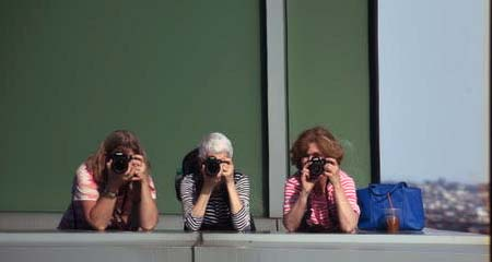 Photo was taken from the observation deck at Independence Wharf on our outing to the Custom House and Boston Waterfront.  The photographers are Michele Miller, Susan Merrill, and Karen Brodigan.