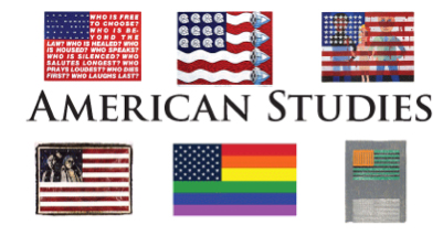 Six versions of an American flag and text that says American Studies
