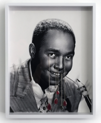 A mixed media drawing representation of jazz great Charlie Parker