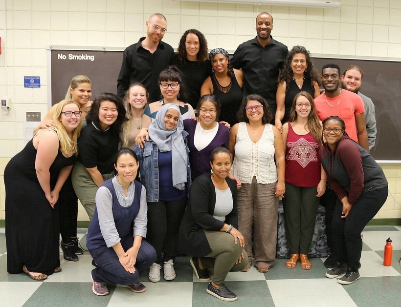TCCS students with guest speakers from Red Sage Stories/Playback Theatre & Art for Social Change in Professor Aminah Pilgrim's class.