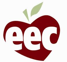 Graphic of an apple with the letters eec in the middle
