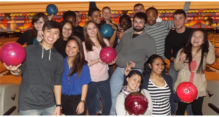 Picture of students at a bowling alley