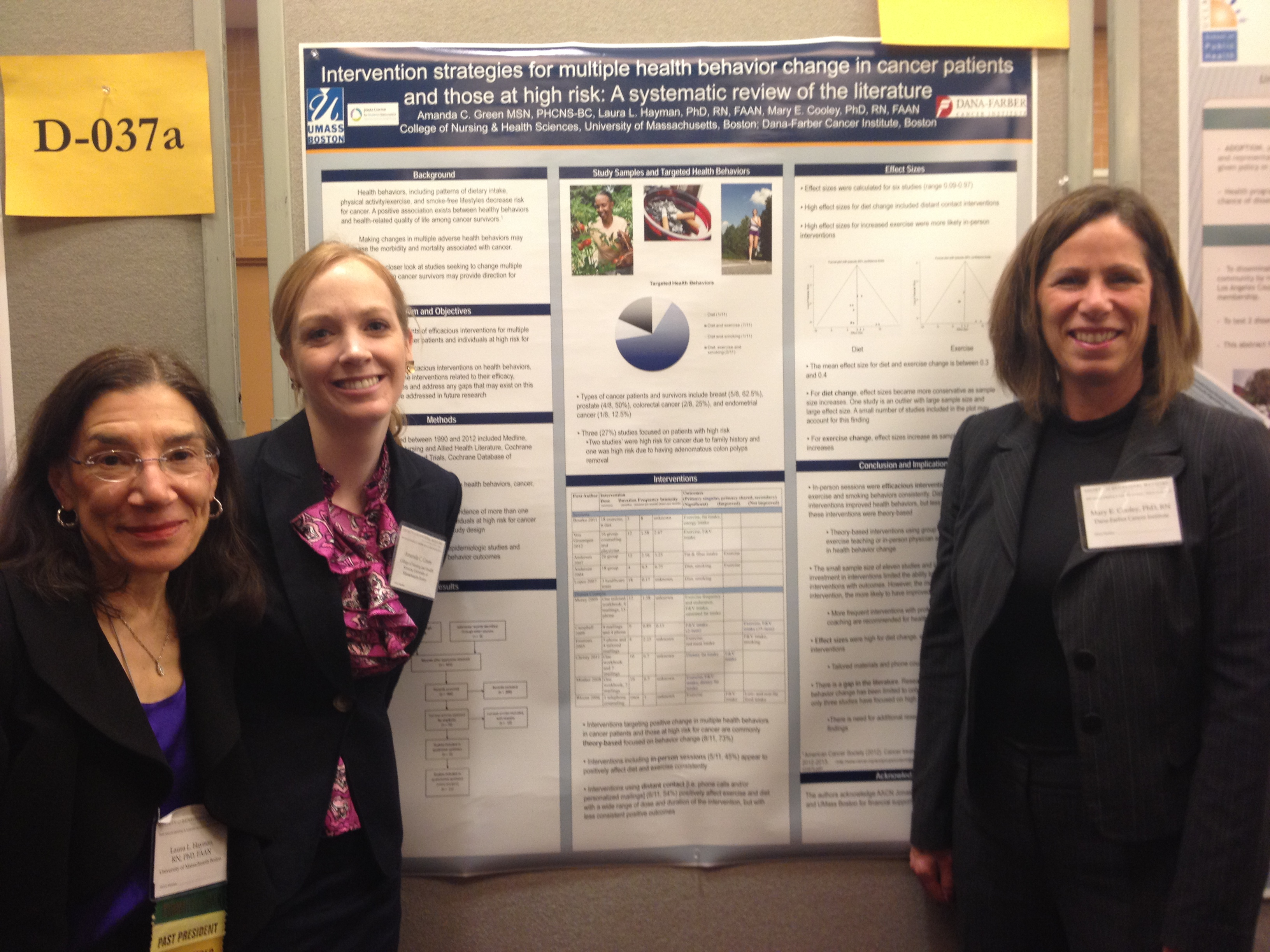 Doctoral students Amanda Green (middle) with CNHS faculty mentors Drs. Laura L. Hayman (left) and Mary Cooley presenting a poster at the 34th Annual Meeting of the Society of Behavioral Medicine, San Francisco, CA, March 2013.