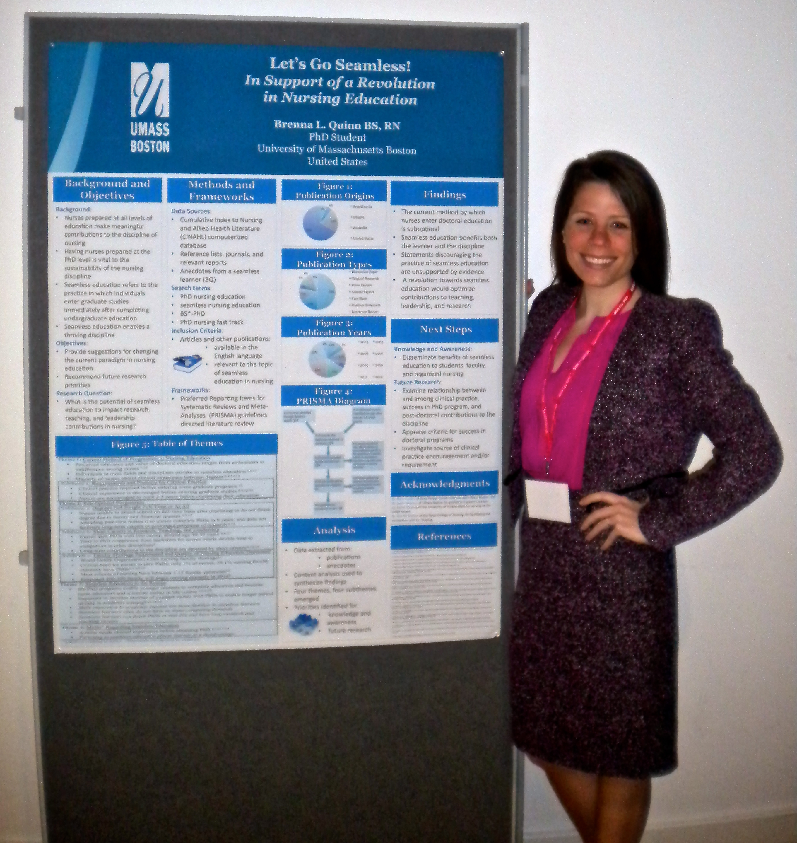Doctoral student Brenna Quinn presenting a poster at the International Nursing Research Conference in Belfast, Northern Ireland, March 2013.