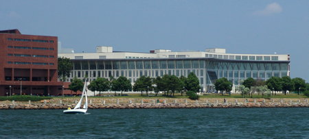 View of the University of Massachusetts Boston's Campus Center from the water