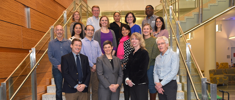 Staff and faculty of UMass Boston's Exercise and Health Sciences Department in the Integrated Sciences Complex