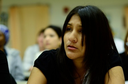 Student in class, the Center for Clinical Education and Research, College of Nursing and Health Sciences, UMass Boston.