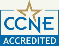 Graphic of a star that says CCNE Accredited