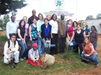 UMass Boston team with Kigumo village chief.
