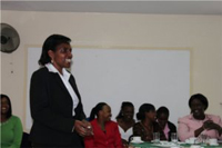 Margaret Karangatha, the guest speaker at the debriefing conference, spoke about nursing leadership in health care.