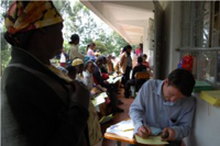 Kevin McDevitt registering people for health screening