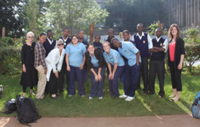 Kijabe Team in respective school's uniform after a long day of lectures and touring Kijabe Hospital.