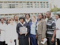 Presentation of a nursing text book from the US team to the Kenyatta University School of Nursing.