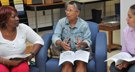 Master of Science in Human Service students discuss the program during the new student orientation in August, 2013.