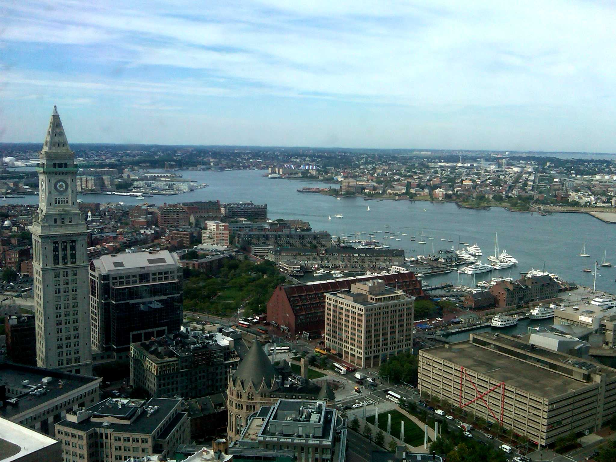 View of Harbor from UMass Club, 33rd floor of 225 Franklin Street, Boston