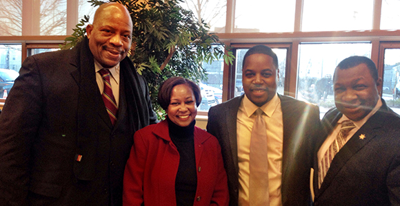 Chancellor Motley, Roxbury Community College President Valerie Roberson, DSNI's Chris Jones, and Sheriff Steve Tompkins