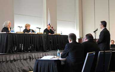 While in session at UMass Boston, a three-member judicial panel heard two criminal cases and three civil cases