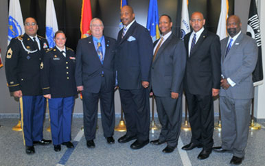 LTC Charles C. Hagemeister meets with Chancellor J. Keith Motley and other school leaders