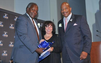 Vice Chancellor Charlie Titus, Gail Hobin, and Chancellor J. Keith Motley