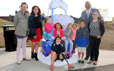 Children from Dot Art created the first sculpture to be featured on the HarborWalk.