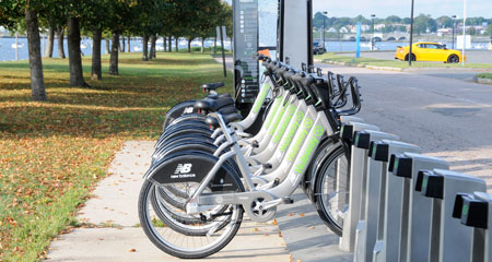 Crews installed a new Hubway bike-sharing station on the UMass Boston campus in September 2012.