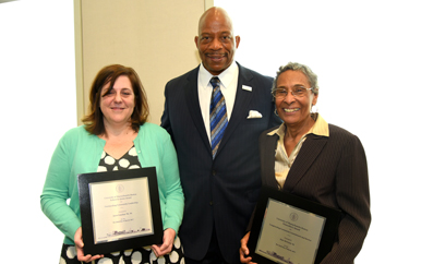 Joyce Linehan '96, '04 (left) and Jean McGuire '61 with UMass Boston Chancellor J. Keith Motley