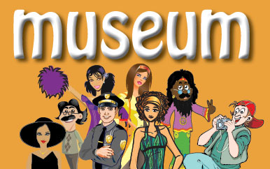 Cartoon people with text that says Museum