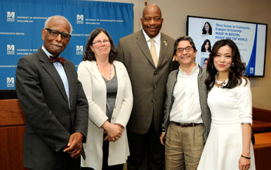 Hannah Sevian, C. Eduardo Siqueira, and Shirley Tang with Provost Winston Langley and Chancellor J. Keith Motley