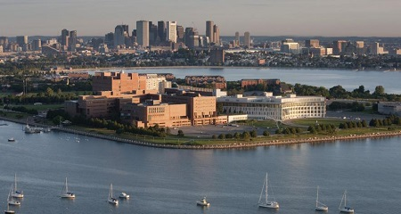 Bird's Eye View of the University of Massachusetts Boston.