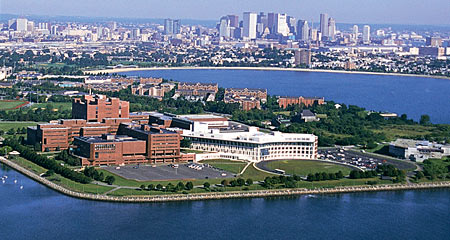 Aerial of the UMass Boston campus shows the setting for this biology research experience for undergraduates