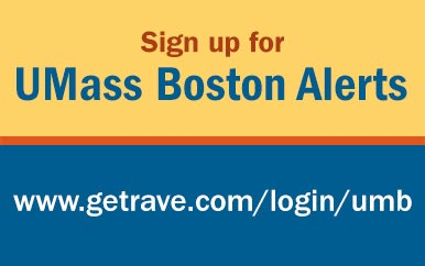 Graphic that says UMass Boston Alert: https://www.getrave.com/login/umb