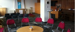 A picture of the UMass Boston Interfaith Center Sanctuary, a shared sacred space for personal and shared group reflection, prayer, worship and faith-based activities. The center hosts two spaces for prayer, Ryan Lounge, 3rd floor of McCormack Hall.