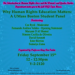 Image flyer in blue with names of student panelists and faculty organizer.