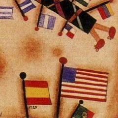 flags, part of a painting