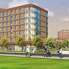 architect's rendering of the UMass Boston residence halls