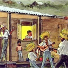 Picture from Las Octivas flyer shows illustration of men playing guitars